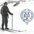 1920s man on skis, University of Oxford badge