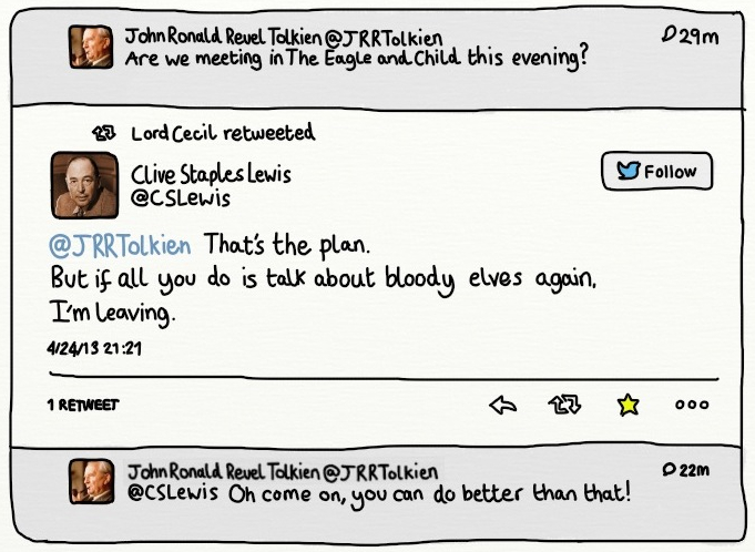 Tolkien and CS Lewis talking on Twitter